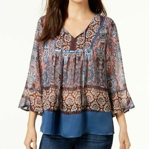 Style & Co Large Printed Peasant Blouse 3Y45